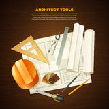 Architecte Tools Background de construction Image stock