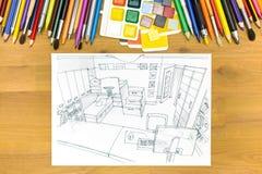 Architecten of designer's het werk ruimte Stock Afbeeldingen