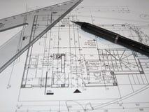 Architecten die plan maken Stock Afbeelding