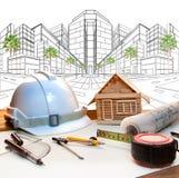 Architecten werkende lijst en moderne buildin van het twee puntperspectief Royalty-vrije Stock Afbeelding