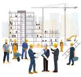 Architecteningenieurs en bouwers bij bouwwerf stock illustratie