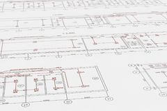Architectenplannen, technische projecttekening met brandalarmdetectors Stock Foto