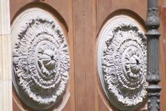 Architectonic detail. Of an ancient door in Barcelona stock photography