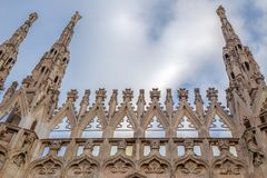 Architectonic details from the famous Milan Cathedral royalty free stock photo