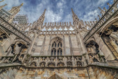 Architectonic details from the famous Milan Cathedral, Italy stock photography