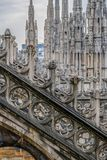 Architectonic details of the Milan Cathedral. Architectonic details from roof of the famous Milan Cathedral, Lombardy, Italy Royalty Free Stock Image