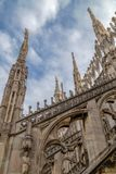 Architectonic details of the Milan Cathedral. Architectonic details from roof of the famous Milan Cathedral, Lombardy, Italy Stock Photography
