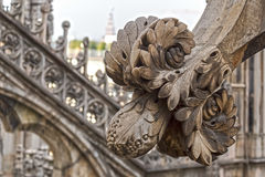 Architectonic details from roof of the famous Milan Cathedral, I Stock Images
