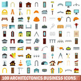 100 architectonics business icons set, flat style stock illustration