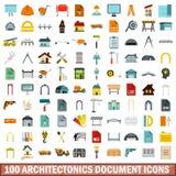100 architectonics document icons set, flat style. 100 architectonics document icons set in flat style for any design vector illustration royalty free illustration