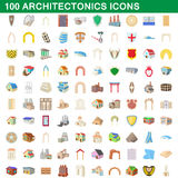 100 architectonics icons set, cartoon style. 100 architectonics icons set in cartoon style for any design vector illustration Royalty Free Stock Photo