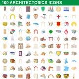 100 architectonics icons set, cartoon style. 100 architectonics icons set in cartoon style for any design illustration royalty free illustration
