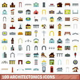 100 architectonics icons set, flat style. 100 architectonics icons set in flat style for any design vector illustration Stock Image