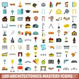 100 architectonics mastery icons set, flat style. 100 architectonics mastery icons set in flat style for any design vector illustration stock illustration