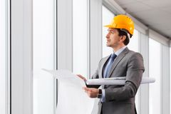 Architector in hardhat Royalty Free Stock Photo