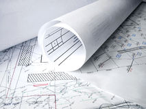 Architectral drawing. On the table Royalty Free Stock Photography