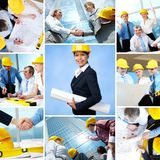 Architects. Collage of business teams and leader working in architecture Stock Photography