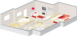 Architects 3d floorplan of a house or apartment. 3D floorplan with furniture visualised for an apartment or a house Stock Image