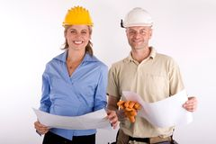 Architects. Young architects or constructors at work stock image