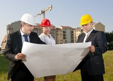 Architects are agreed on a plan to build a building Stock Images