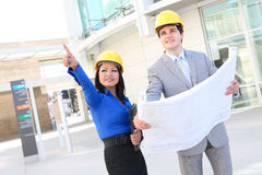 Architects on Building Construction Site Royalty Free Stock Images