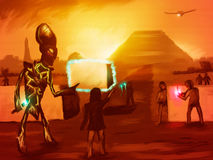 Architects Of Civilization. Digital painting of extraterrestrials helping ancient man build the pyramids Stock Image