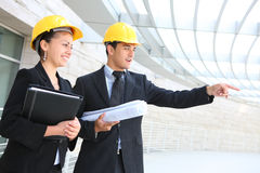 Architects on Construction Site Stock Images