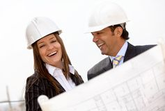 Architects at a construction site Stock Image