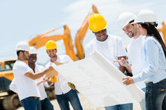 Architects at a construction site Stock Photo