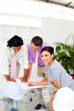 Architects discussing a construction plan Royalty Free Stock Photo
