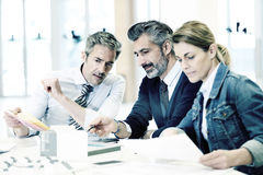 Architects discussing new project stock photo