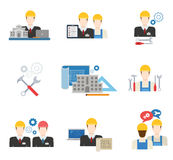 Architects, engineers and construction workers flat icon set Royalty Free Stock Image
