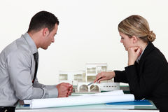 Architects evaluating a building Stock Images