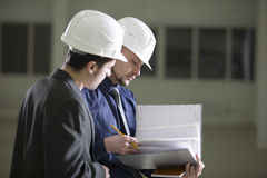 Architects Going Through File Folder In Warehouse Stock Images