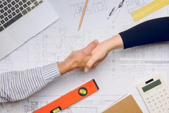 architects hands shaking Στοκ Εικόνα