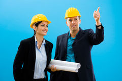 Architects in hardhat. Young architects in yellow hardhat against blue background Stock Image