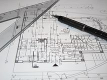 Architects making plan. Review the plans Stock Image