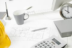 Architects office desk Royalty Free Stock Photography