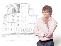 Architects plan house. Royalty Free Stock Image