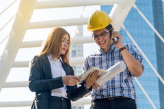 Architects are planning new project. Stock Photos
