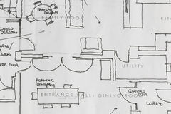 Architects plans. Hand drawn architetcs  house or real estate plans Stock Images