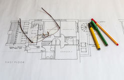 Architects plans. Hand drawn architetcs  house or real estate plans Royalty Free Stock Images