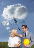Architects with plans and hard hat looking at each other. Composite image of architects with plans and hard hat looking at each other Royalty Free Stock Photography