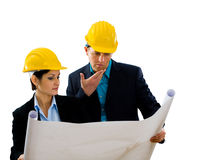 Architects reading blueprint Royalty Free Stock Images
