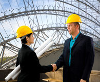 Architects shaking hands Royalty Free Stock Photo