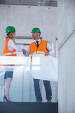 Architects shaking hands in office corridor Stock Image