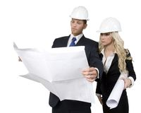Architects studying plan Royalty Free Stock Photo