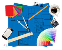 Architects tools Royalty Free Stock Photos