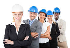 Architects Wearing Hardhats While Standing Arms Crossed Royalty Free Stock Images