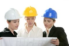 Architects woman working, isolated at studio Royalty Free Stock Image